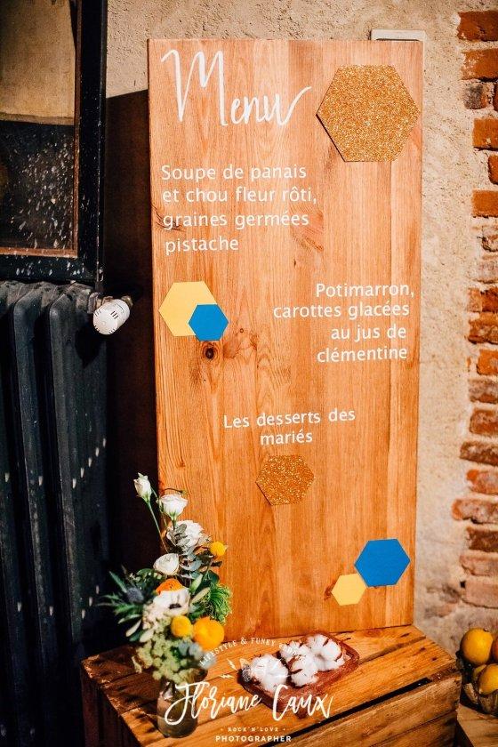 support de menu mariage d'hiver Toulouse