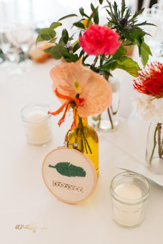 nom de table sur tambour à broder mariage